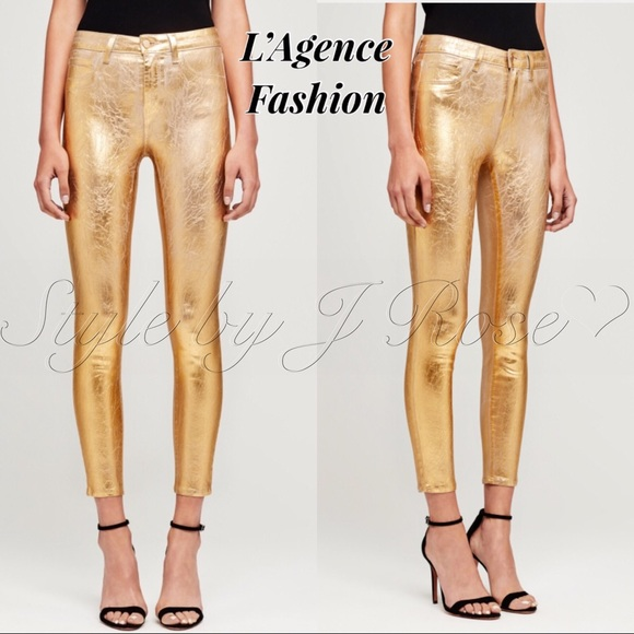L'AGENCE Denim - NWT's L'Agence Fashion Gold Metallic Foil Jeans